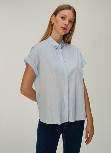 NGSTYLE Yakası Taş İşlemeli Kısa Kol Gömlek Mavi
